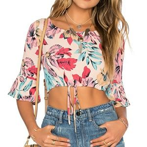 $118 For LOVE and LEMONS Floral Crop Top XS